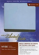 Imagen Biblia Libertad en Cristo NVI - Piel Italiana Azul Claro/Beige