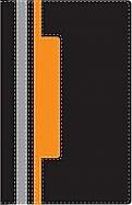 Imagen Biblia Héroes (Dante Gebel) - Piel Italiana Negro/Naranja