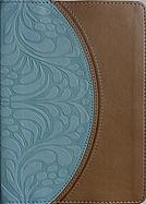 Imagen Biblia Letra Grande Tamaño Manual con Referencias - Piel Especial Color Tostado Oscuro y Azul Cielo